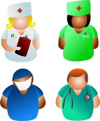 Illustrated members of the medical profession